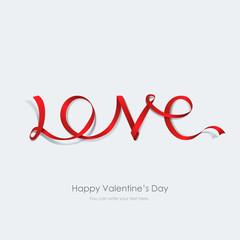 Inscription love made red ribbon