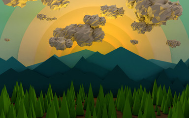 Mountain Sunrise with Clouds and Trees