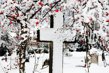 snow covered cross