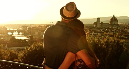 Pretty Couple on Romantic Vacation Italy Florence
