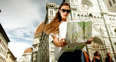 Pretty Fashionable Vintage Woman Holding Map Europe Art Vacation