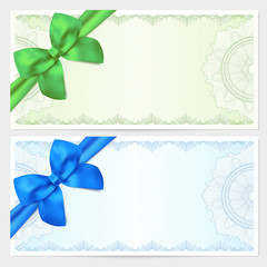 Gift certificate / Voucher / Coupon with bow. Guilloche pattern