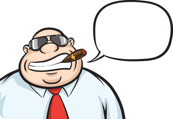 Cartoon cheerful boss with speech bubble