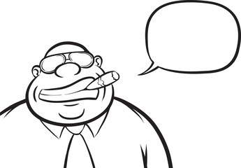whiteboard drawing - cartoon cheerful boss with speech bubble