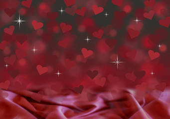 red black valentines satin bokeh background illustration hearts