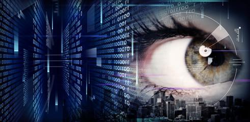 Woman eye on techno background