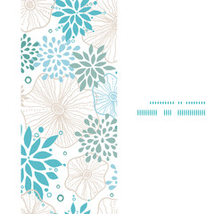 Vector blue and gray plants vertical frame seamless pattern
