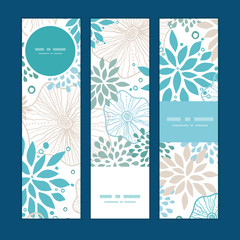Vector blue and gray plants vertical banners set pattern