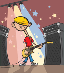 Cartoon sad rock guitarist