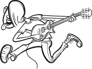 whiteboard drawing - Cartoon jumping guitarist on stage