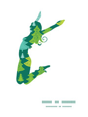 Vector holiday christmas trees jumping girl silhouette pattern