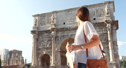 Beautiful Young Woman Tourist Rome Holding Map Directions