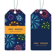 Vector holiday fireworks vertical stripe frame pattern tags set