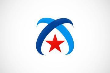arch loop star logo vector