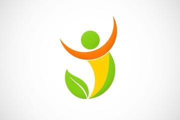 eco man active abstract logo vector
