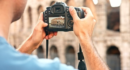 Man Hands Holding Camera Tourism Rome Taking Pictures Vacation