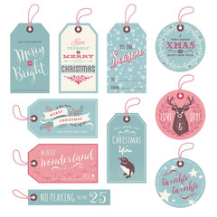 cute christmas gift tags with hand-drawn elements