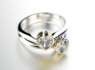Golden  Ring with Diamond heart shape. Jewelry background