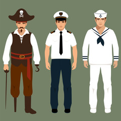 pirate, captain and sailor characters, vector illustration,