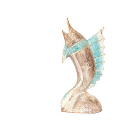 handcraft wood fish sculpture isolated on white background