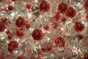 Shiny Red Holiday Ornaments Silver Christmas Tree