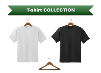Black and white T-shirt template collection with hanger