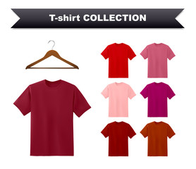 Red T-shirt template collection with hanger