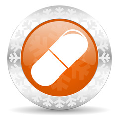 drugs orange icon, christmas button, medical sign
