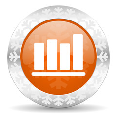 bar chart orange icon, christmas button