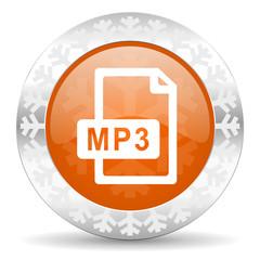 mp3 file orange icon, christmas button