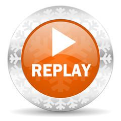 replay orange icon, christmas button