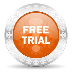 free trial orange icon, christmas button