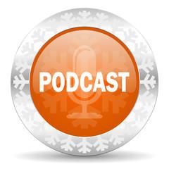 podcast orange icon, christmas button