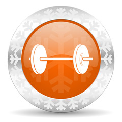 fitness orange icon, christmas button
