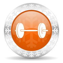 fitness orange icon, christmas button