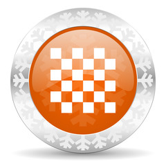 chess orange icon, christmas button