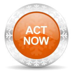 act now orange icon, christmas button
