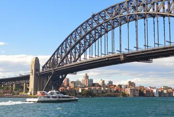View of Harbor bridge and city , Sydney
