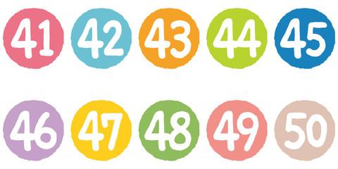 カラフルな数字 40番代