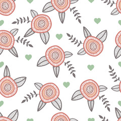Graphic hand drawn flowers. Catoon style illustration with