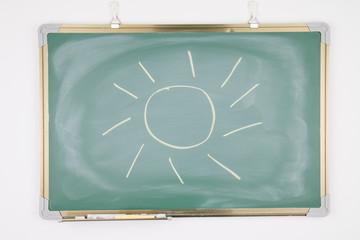 Sun drawn on a blackboard