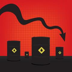 Oil barrels on Decline chart diagram with black down arrow