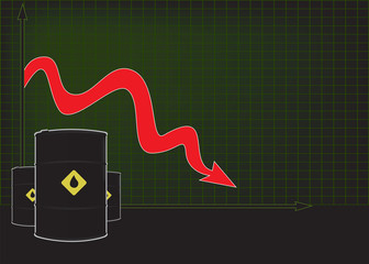 Oil price fall graph with red down arrow