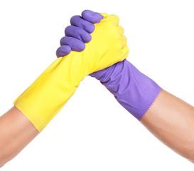 Hands in gloves