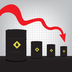 Oil barrels on Decline chart diagram and red down arrow