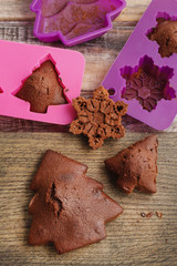 Chocolate cookies in silicone molds