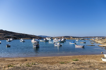 Boats in a small gulf in Ano Koufonisi island, Cyclades, Greece