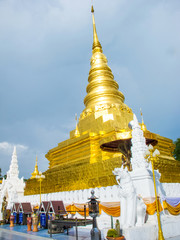 Golden pagoda Thai temple