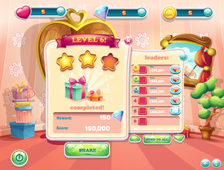 Example of the user interface of a computer game. Window complet