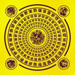 Brown runes on yellow background